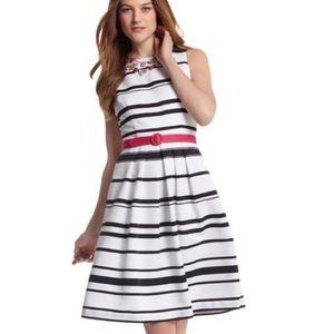 WHBM White/Black Stripe Belted Fit & Flare Dress